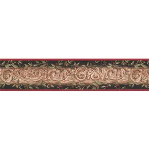 York Wallcoverings Wallpaper Border - 15-ft x 5.25-in - Leaves/Damask - Beige/Black