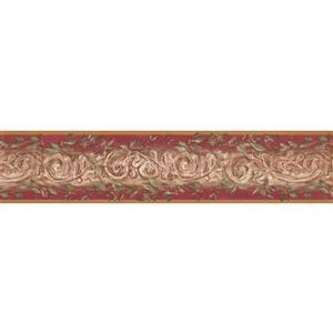 York Wallcoverings Wallpaper Border - 15-ft x 5.25-in - Damask - Beige/Cherry Red