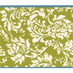 York Wallcoverings Wallpaper Border - 15-ft x 6-in - Floral Pattern - White/Yellow