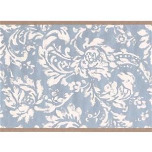 York Wallcoverings Wallpaper Border - 15-ft x 6-in - Floral Pattern - White/Blue