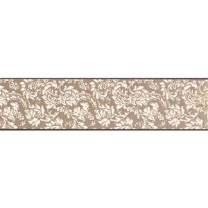 York Wallcoverings Wallpaper Border - 15-ft x 6-in - Floral Pattern - White/Brown