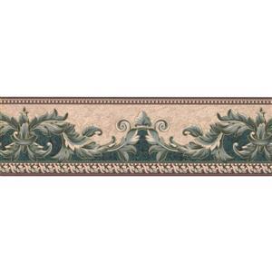"Retro Art Wallpaper Border - 15' x 7"" - Vintage Damask - Green/Beige"