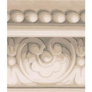 Norwall Wallpaper Border - 15' x 5.5-in- Crown Moulding - Grey/White
