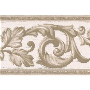 Norwall Wallpaper Border - 15' x 7-in- Vintage Damask - Grey/White