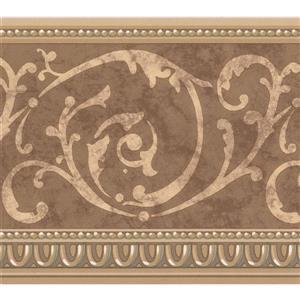 "Retro Art Wallpaper Border - 15' x 7"" - Retro Damask - Beige/Brown"