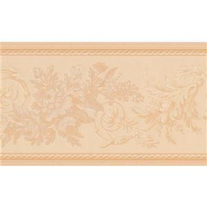 """Retro Art Wallpaper Border - 15' x 6"""" - Flowers on Vine - Beige"""