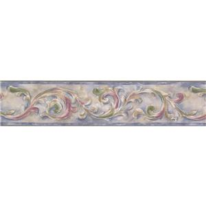 "Retro Art Wallpaper Border - 15' x 5.25"" - Damask - Green/Purple/White"