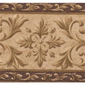 "Retro Art Wallpaper Border -15' x 7.12"" - Abstract Damask -Brown/Beige"