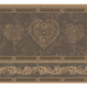 "Retro Art Wallpaper Border - 15' x 6.7"" - Heart Damask - Beige/Brown"