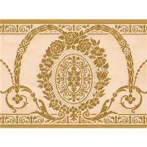 Norwall Wallpaper Border - 15' x 6.75-in- Retro Damask - Green/Beige