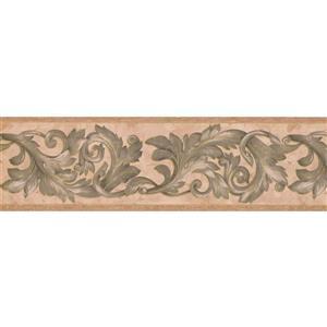"Retro Art Wallpaper Border - 15' x 7"" -Retro Damask -Green/Beige/Brown"