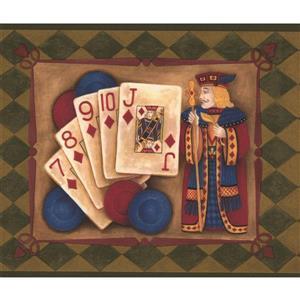 "Chesapeake Wallpaper Border - 15' x 7"" - Poker Hands - Laurel Green"