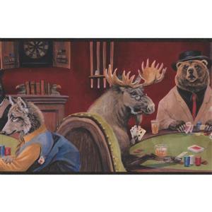 "Chesapeake Wallpaper Border - 15' x 9"" - Animals Playing Poker"