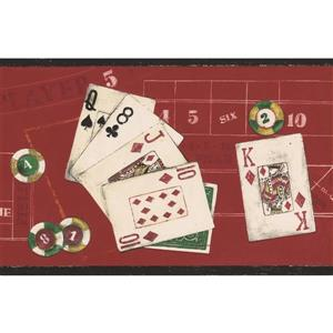 Norwall Wallpaper Border - 15' x 7-in- Poker Chips and Cards - Red