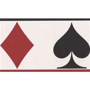 Norwall Wallpaper Border - 15' x 5.25-in- Playing Cards - Red/Black