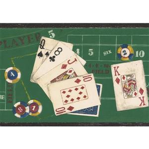 Norwall Wallpaper Border - 15' x 7-in- Poker Chips and Cards - Green