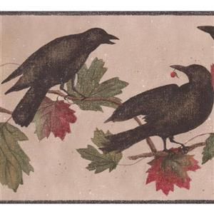 York Wallcoverings Wallpaper Border - 15-ft x 9-in - Birds on Branch - Beige