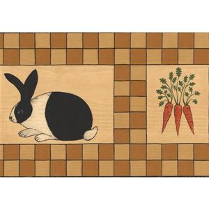 Norwall Wallpaper Border  - 15' x 7-in- Rabbits and Carrots - Beige