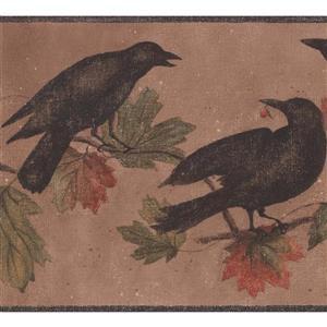 York Wallcoverings Wallpaper Border - 15-ft x 9-in - Black Birds - Tawny Brown