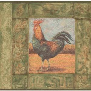Norwall Wallpaper Border - 15' x 7-in-Cracked Rooster Painting -Green