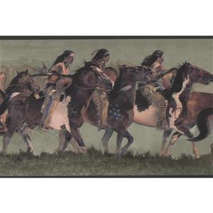 York Wallcoverings Wallpaper Border - 15-ft x 7-in -Indians Riding on Horses -Green