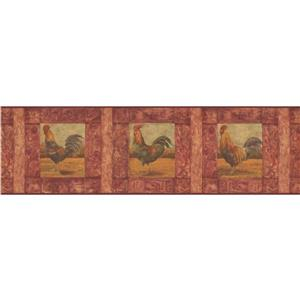 Norwall Wallpaper Border - 15' x 7-in- Cracked Rooster Painting - Red
