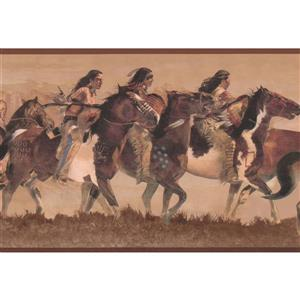 York Wallcoverings Wallpaper Border -15-ft x 7-in - Indians Riding on Horses -Beige
