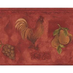 Norwall Wallpaper Border - 15' x 9-in- Rooster and Fruits - Red