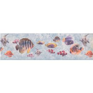York Wallcoverings Wallpaper Border - 15-ft x 7-in - Fish Swimming - Multicolour