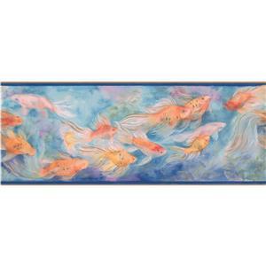 "Chesapeake Wallpaper Border - 15' x 9"" -Fish Swimming - Orange/Red/Blue"