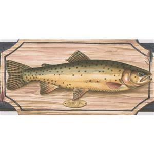 "Retro Art Wallpaper Border- 15' x 5"" -Fish on Chopping Board - Grey"