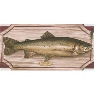 "Retro Art Wallpaper Border - 15' x 5"" - Fish on Chopping Board - Pink"