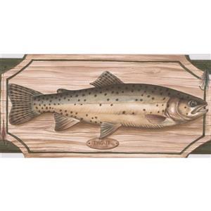 "Retro Art Wallpaper Border - 15' x 5"" - Fish on Chopping Board - Green"