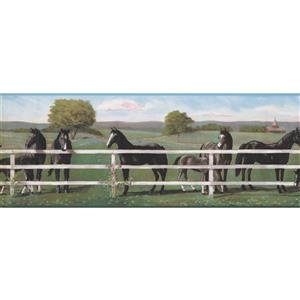 "Retro Art Wallpaper Border -15' x 9"" -Horses Behind Fence -Black/White"