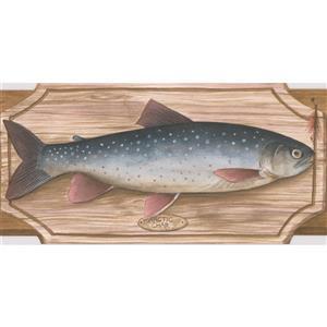 "Retro Art Wallpaper Border - 15' x 5"" - Fish on Chopping Board - Brown"
