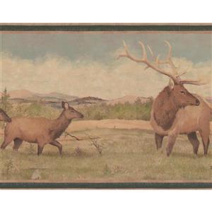 """Retro Art Wallpaper Border - 15' x 9"""" - Deer in the Wild - Sage Green"""