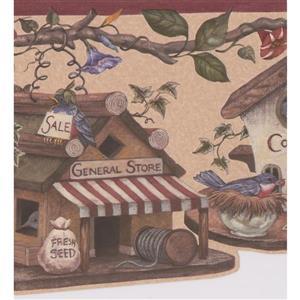 "Retro Art Wallpaper Border - 15' x 9"" - Bird Village - Multicolour"