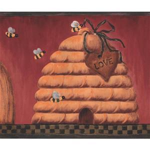 York Wallcoverings Wallpaper Border - 15-ft x 7-in - Beehives/Love Faith Hope - Red