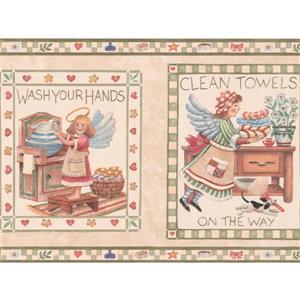 "Retro Art Kids Wallpaper Border - 15' x 9"" - Bathroom Fairy - Beige"