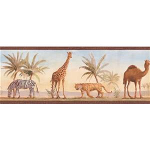 York Wallcoverings Wallpaper Border - 15-ft x 9-in - Jungle Animals and Palm Trees