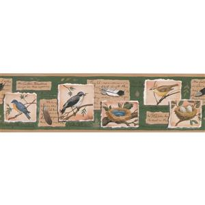 "Retro Art Wallpaper Border - 15' x 7"" - Birds and Nests Postage Stamps"