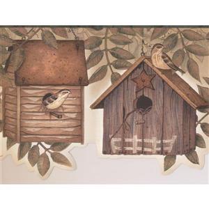 "Chesapeake Wallpaper Border - 15' x 6.25"" - Birdhouses and Leaves"