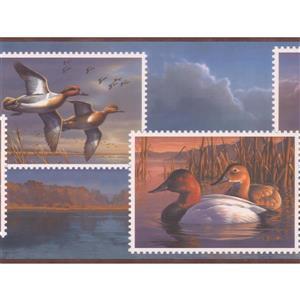 "Retro Art Wallpaper Border - 15' x 10"" - Ducks on Postage Stamps"