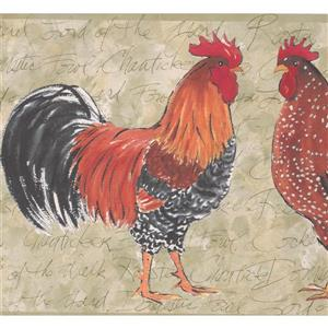"Retro Art Wallpaper Border - 15' x 10.25"" - Colourful Roosters"