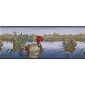 """Retro Art Wallpaper Border - 15' x 9"""" - Ducks in the Pond -Multicolour"""