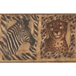 "Retro Art Wallpaper Border - 15' x 7"" - Tiger Zebra Giraffe - Brown"