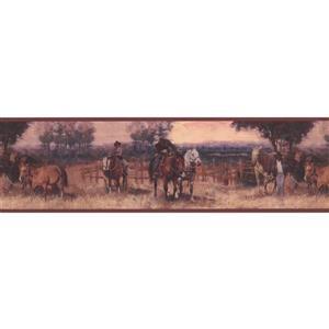 York Wallcoverings Wallpaper Border - 15-ft x 7-in - Retro Cowboys on Horses