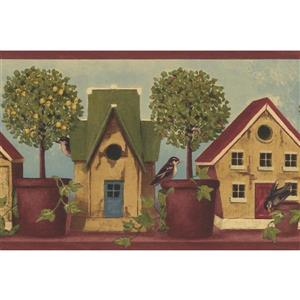 Norwall Wallpaper Border - 15' x 7-in- Birdhouses and Potted Trees
