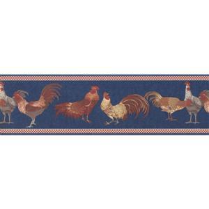 "Retro Art Wallpaper Border - 15' x 7"" - Retro Roosters -Beige/Red/Blue"