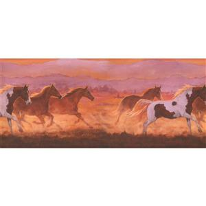 York Wallcoverings Wallpaper Border -15-ft x 10.25-in -Galloping Horses in the Wild